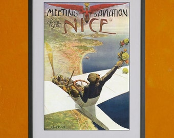 Meeting d' Aviation Nice, 1910 - 8.5x11 Poster Print - also available in 13x19 - see listing details