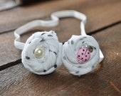 Fabric Handmade Rosette Headband - Black/ White Polka Dot Hair Accessory for Baby Girl