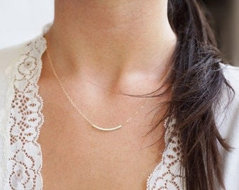Ahead Of The Curve - Sterling Silver Curved Bar Necklace