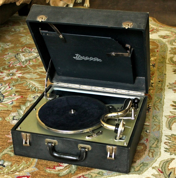 Vintage Decca Wind Up Portable Record Player