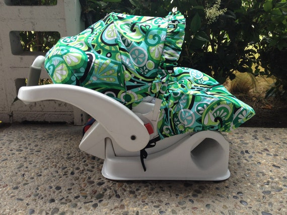 Infant Car Seat Cover in Green Mod Swirl