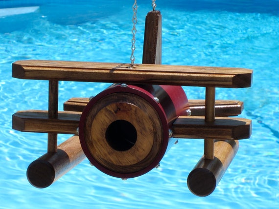 CYBER WEEK SALE - Seaplane/Floatplane Birdhouse - Cranberry with Early American Finished Wood