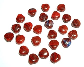 Red, Blue and Black Stripe Shells 9mm, 24 Pieces Czech Glass Beads, Item 795