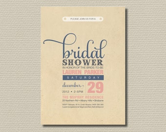 Printable Bridal Shower Invitation - Vintage pink and blue poster design (BD01)