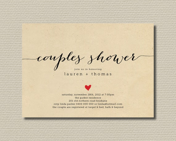 Printable Couples Shower Invitation - Simple & Sweet Love Heart Design on Brown Paper Background (BR82)