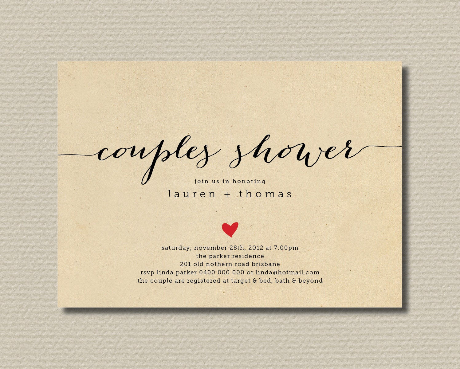printable couples shower invitation simple by rosiedaydesign