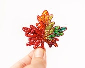 RESERVED FOR TAMMARA- Autumn Leaf Beaded Brooch