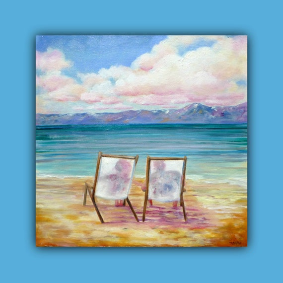 Original Oil Painting (12 x 12 x 3/4 inch) of Lake Tahoe (Beach/ Couple/ Chairs/ Blues/ Green/Tans) by Tina Petersen