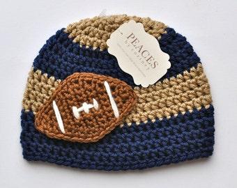 Football Beanie - Navy Blue & Tan Baby Football Hat ( newborn gift preemie hat newborn costume babyshower newborn beanie baby hats )
