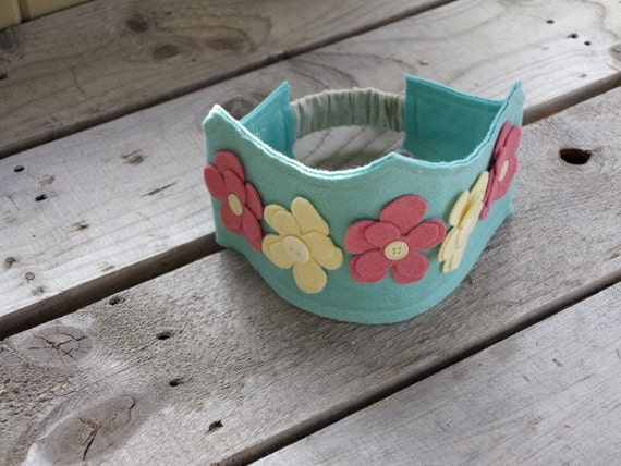 Robin's egg blue felt crown with ivory and pink flowers