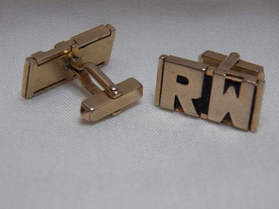 SWANK Initial R W Cufflinks - Gold Vintage Mens Jewelry Accessory - RW