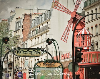 Moulin Rouge and The Subway-Paris,France,Fine Art Photography,Travel,Parisian,Metro,cityscape