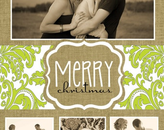 Custom Green and White Photo Christmas Cards