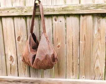 Brown Faux Suede Hobo Bag Crocodile Print