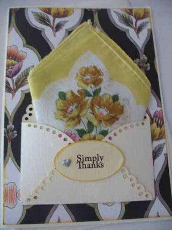 Unique Vintage Handkerchief Floral Yellow  Black Friend Thank You  Appreciation Hanky Greeting Card
