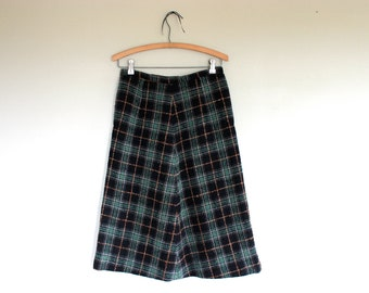 Vintage  Black Plaid A Line Skirt