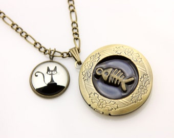 Necklace locket little black cat and fish 2020m