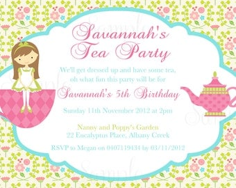 Tea Party Birthday Theme Printable Invitation and Gift Favor Tags