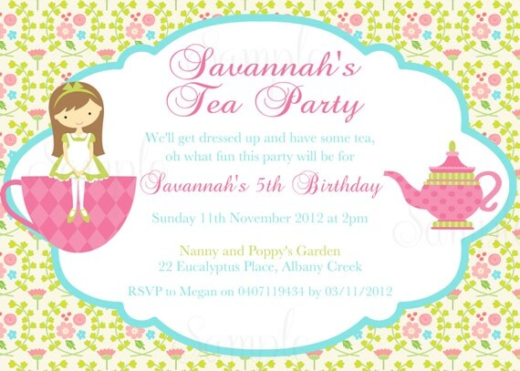 tea party birthday theme printable invitation by thelovelymemories, Birthday invitations