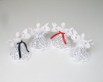 Set of 4 white crochet angels. Angel decoration. Christmas angel decor. Christening Wedding decor. Angel ornament. Christmas bell