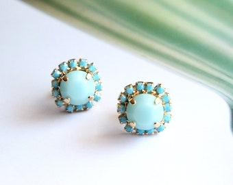 Swarovski Crystal Halo Stud Earrings in Mint and Turquoise