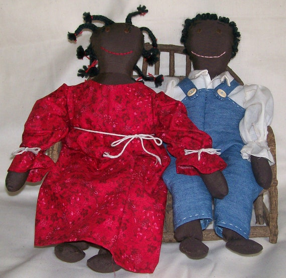 Pair of Handmade Black Americana OOAK Boy and Girl Cloth Dolls on Wooden Bench