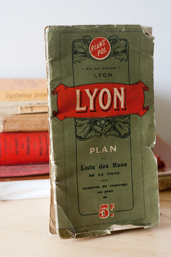 1937 Pol's Vintage Map of Lyon and Villeurbanne France Collectible