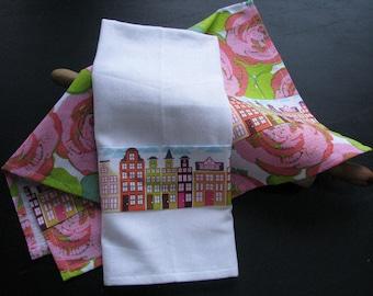 2 cotton kitchen towels, row houses, city, tea towels