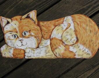 Tabby Cat Mat, Pet Bowl Placemat, Cat Bowl Mat, Feeding Bowl, Cat Mat, Orange Tabby Cat. Cat Placemat