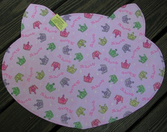 Cat Bowl Feeding Placemat, Pink Place Mat, Princess, Tiara, Reversible Place Mat, Pet Bowl Mat, Pink, Purple, Green, Plaid, Large