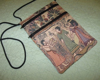 Colorful 2 Zipper Tapestry Purse
