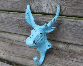 AQUA Wall Hook/Cast Iron Moose Head