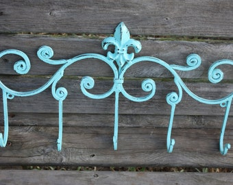 PICK YOUR COLOR Shabby Chic / Paris Apartment / Cottage Chic Cast Iron Wall Hook / Fleur de lis Metal Decor / Coat Rack