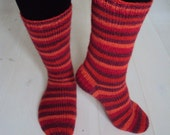 Handknit womens stripy socks