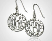 Monogram Earrings Personalized Monogram Earrings in Sterling Silver