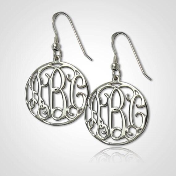 Monogram Earrings Personalized Monogram Earrings in Sterling Silver
