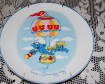Vintage 1982 Smurf Ceramic Collectable Plate