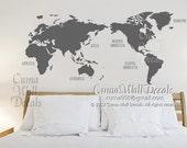 map of world Vinyl wall decals wall mural wall sticker Urben - world map Z150 by cuma
