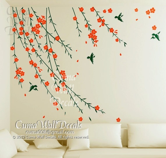 Flower wall decals birds wall sticker nursery mural by cuma for Mural flower