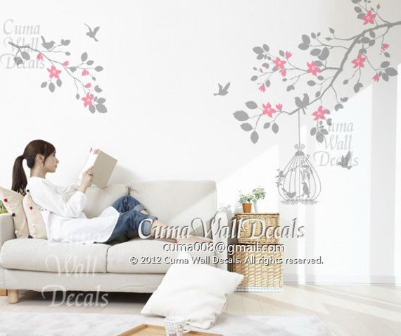 wall decal tree children wall decals nursery wall art- branch cherry blossom birdcage birds Z110 CUMA