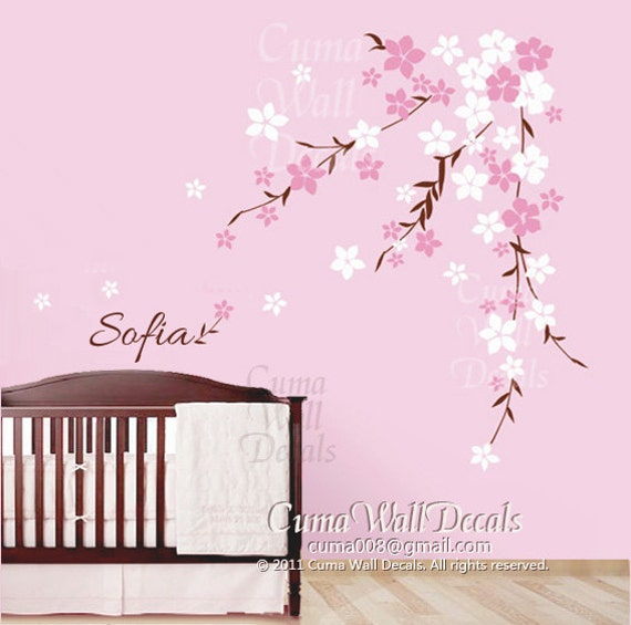 Cherry blossom wall decals flower vinyl wall decals tree for Cherry blossom wall mural stencil