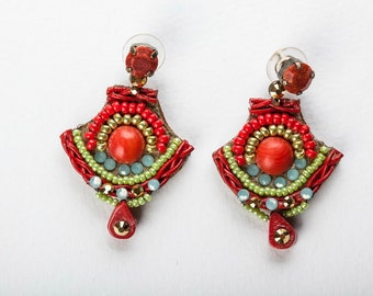 Coral Earrings.  Bead Jewelry.  Japanese Colors,  Tribal Earrings. Ethnic Jewelry. Colorful Jewelry