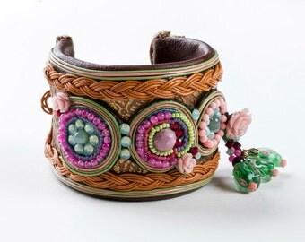 Pink Tourmalin Bracelet. Cuff Bracelet.Tribal Statement Bracelet, Bead Jewelry. Tribal Style  Bracelet. Colorful Jewelry