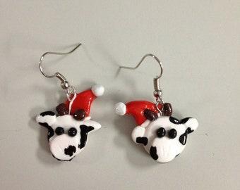 Christmas Moo-Cow Earrings
