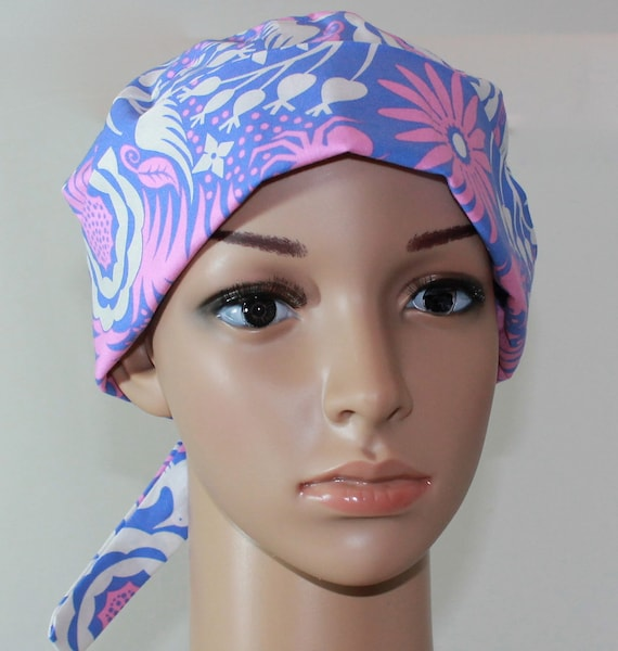 Women's Tie Back Surgical Scrub Hat/ Chemo hat with band.  Garden Divas