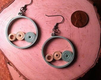 Spring Mint Circle Quilled Earrings
