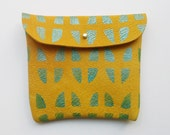 POUCH 02// mustard yellow with metallic green pattern