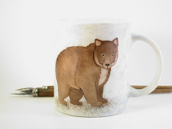 brown bear mug hand painted on porcelain birthday gift for him