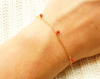 Tiny Red Drop Gold Chain Bracelet - Simple Delicate bracelet (available also on SILVER chain) - Gift for Her Under 15