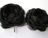 Black  flower hair accessories, set of two, fabric flower bobby pins,  black wedding accessories